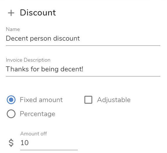 Example fixed discount