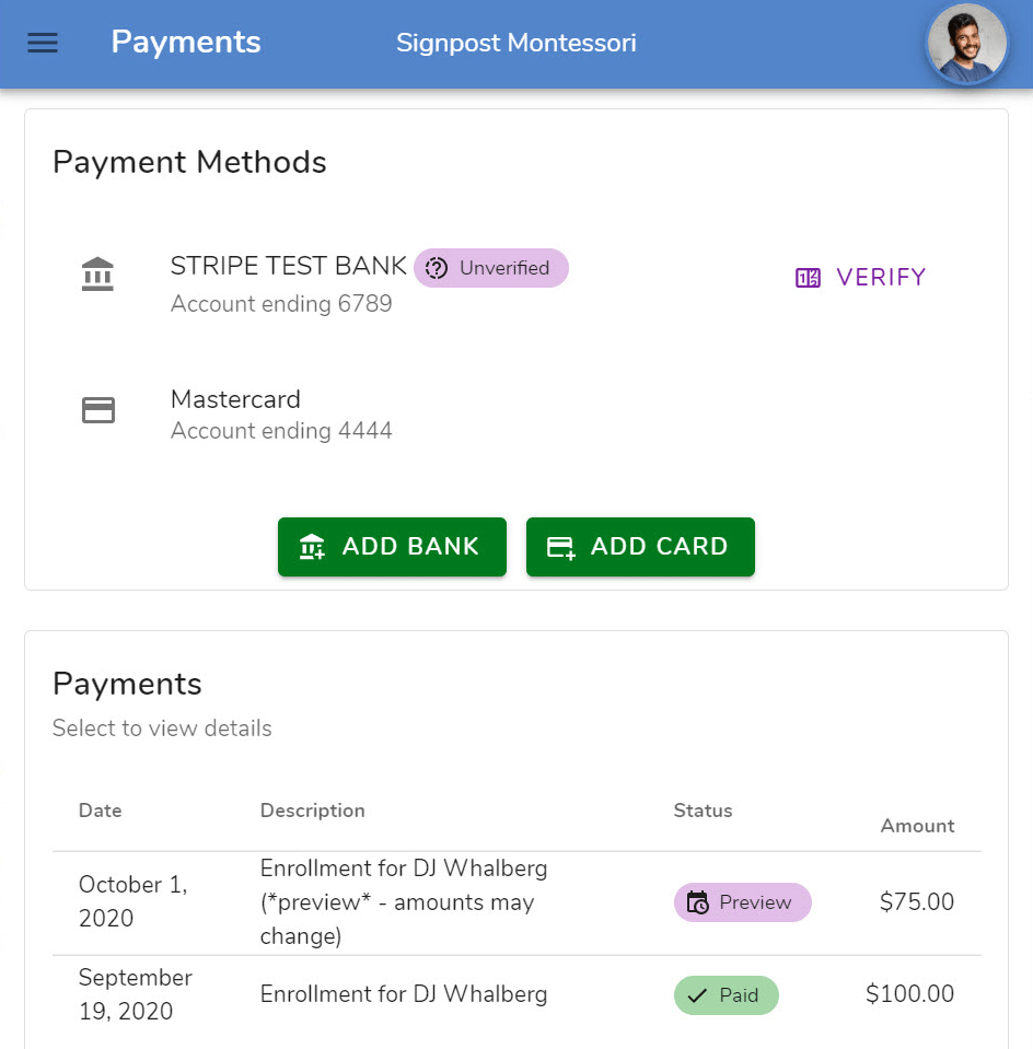 Parents use the Whally app to securely manage payments and view invoices