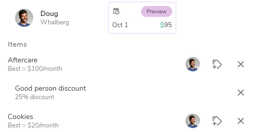 Example billing plan with multiple combined discounts