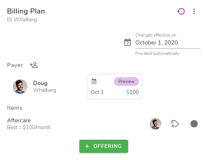 Example billing plan with a single offering