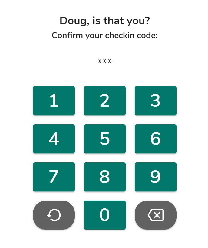 Check-in kiosk enter PIN code